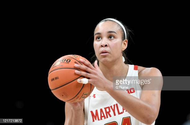 Stephanie Jones of the Maryland Terrapins shoots a free throw against the Ohio State Buckeyes during the Championship game of Big Ten Women's...