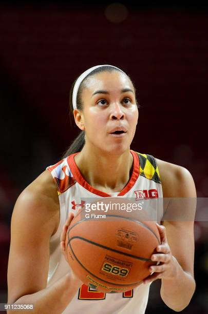 Stephanie Jones of the Maryland Terrapins shoots a free throw against the Iowa Hawkeyes at Xfinity Center on January 4 2018 in College Park Maryland