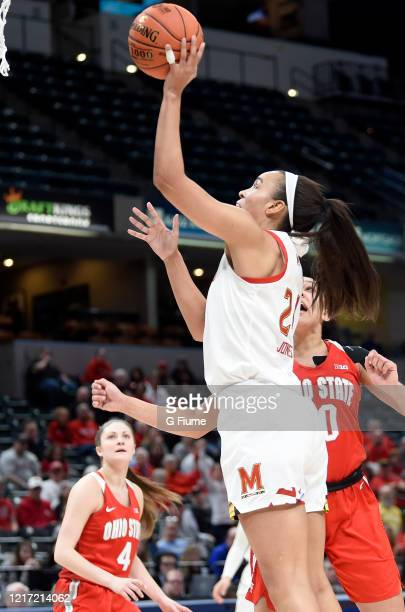 Stephanie Jones of the Maryland Terrapins shoots the ball against the Ohio State Buckeyes during the Championship game of Big Ten Women's Basketball...