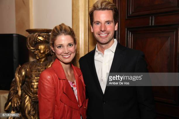 Stephanie Kearney and James G Brooks Jr attend the FIAF and Carnegie Hall Young Patrons Spring Concert Cocktail at the French Consulate on April 19...