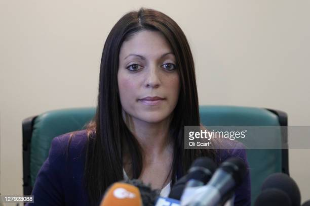 Stephanie Kercher the sister of murdered student Meredith Kercher attends a press conference prior to the verdict in the appeal of Amanda Knox and...