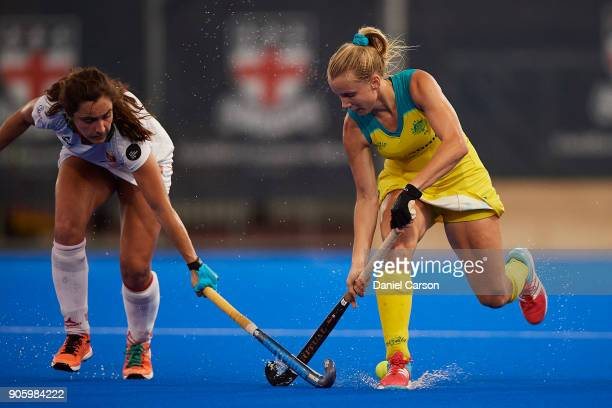 Stephanie Kershaw of the Hockeyroos is tackled during game two of the International Test Series between the Australian Hockeyroos and Spain at...
