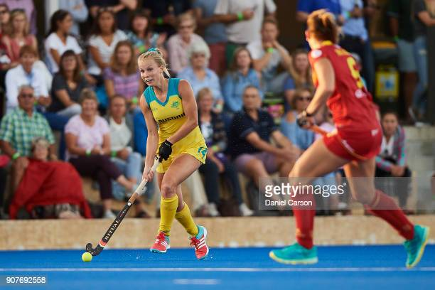 Stephanie Kershaw of the Hockeyroos runs down the line during game three of the International Test match series between the Australian Hockeyroos and...