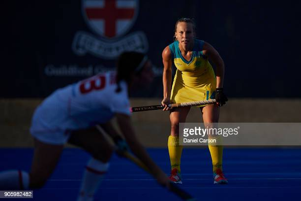 Stephanie Kershaw of the Hockeyroos watches over the play during game two of the International Test Series between the Australian Hockeyroos and...