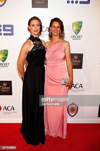 Stephanie Kierce and Julie Hunter arrive at the 2016 Allan Border Medal ceremony at Crown Palladium on January 27 2016 in Melbourne Australia