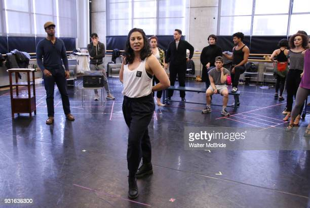 Stephanie Klemons with cast during the Broadway Center Stage Rehearsal for 'In the Heights' on March 13 2018 at Baryshnikov Arts Center in New York...