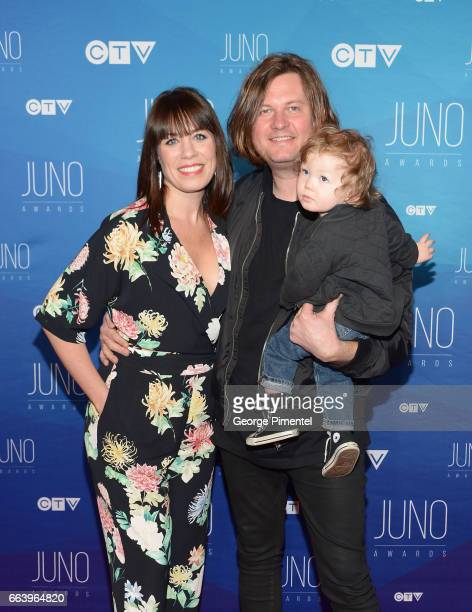 Stephanie Kohls Eric Ratz and son Sammy arrives at the 2017 Juno Awards at Canadian Tire Centre on April 2 2017 in Ottawa Canada
