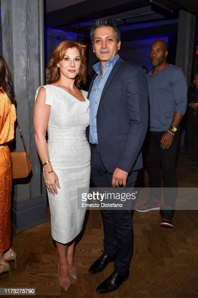 Stephanie Kurtzuba and Hari Dhillon attend the RBC Hosted Bad Education Cocktail Party At RBC House Toronto Film Festival 2019 at RBC House on...