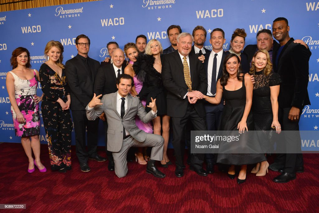 Stephanie Kurtzuba, Sarah Minnich, John Erick Dowdle, Shea Whigham, Salvatore Stabile, John Leguizamo, Melissa Benoist, Taylor Kitsch, Andrea Riseborough, Michael Shannon, Gary Noesner, Paul Sparks, Drew Dowdle, Annika Marks, Camryn Manheim, Kimberly Bigsby, David Thibodeau, and Demore Barnes attend the world premiere of WACO presented by Paramount Network at Jazz at Lincoln Center on January 22, 2018 in New York City.