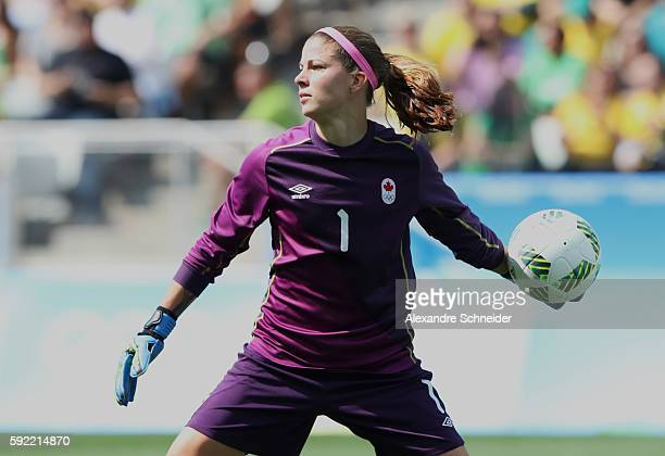 Stephanie Labbe goalkeeper of Canada in action during the match between Brazil and Sweden womens football bronze medal for the Olympic Games Rio 2016...