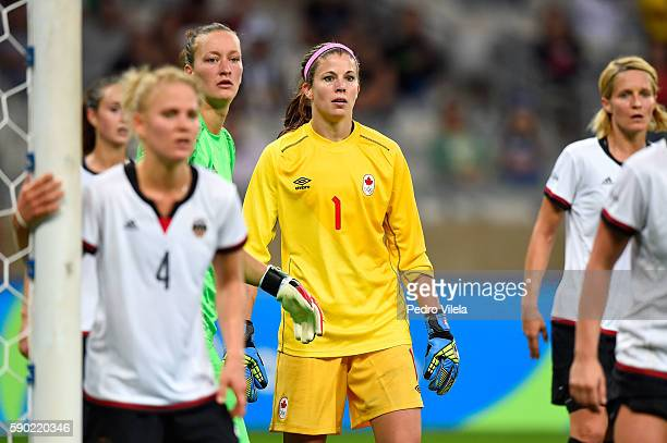 Stephanie Labbe of Canada looks on during the Women's Semi Final match between Germany and Canada on Day 11 of the Rio 2016 Olympic Games at Mineirao...