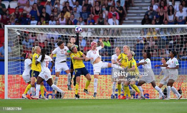 Stephanie Labbe of Canada punches the ball clear during the 2019 FIFA Women's World Cup France Round Of 16 match between Sweden and Canada at Parc...