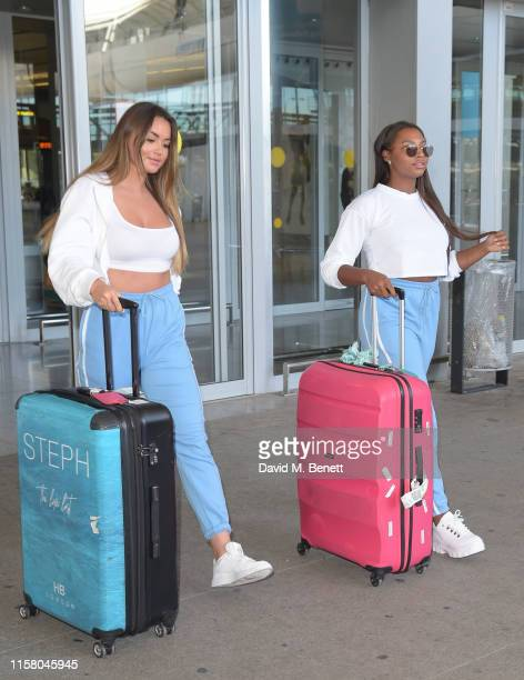 Stephanie Lam and Samira Mighty arrive at Malaga airport ahead of boohoo boohooMAN event on July 27 2019 in Marbella Spain