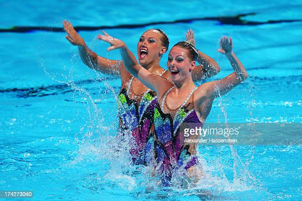 Stephanie Leclair and Emilia Kopcik of Canada compete in the Synchronized Swimming Duet preliminary round on day four of the 15th FINA World...