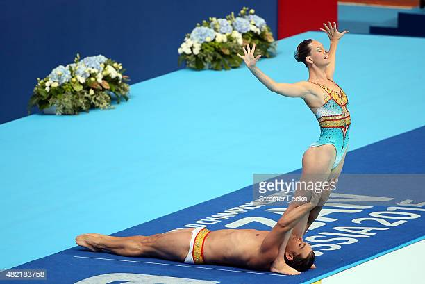 Stephanie Leclair and Rene Robert Prevost of Canada compete in the Mixed Duet Free Synchronised Swimming Preliminary on day four of the 16th FINA...
