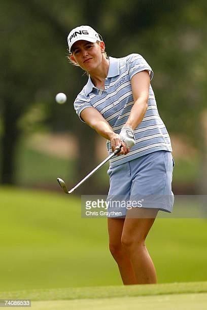 Stephanie Louden chips onto the 4th green during the final round of the SemGroup Championship presented by John Q Hammons on May 6 2007 at Cedar...