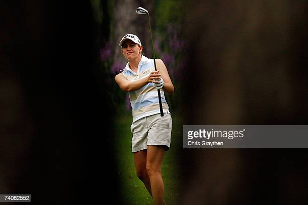 Stephanie Louden makes a shot through the trees on the 16th hole during the second round of the SemGroup Championship presented by John Q Hammons on...