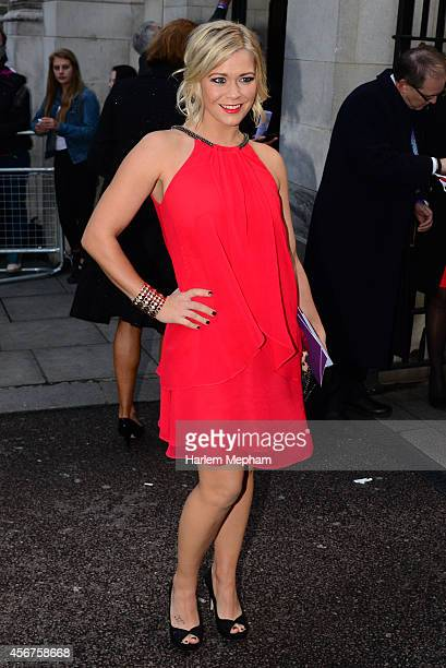 Stephanie Lowe and Phillip Schofield arrive at the Grosvenor House Hotel for the pride of britain awards on October 6 2014 in London England