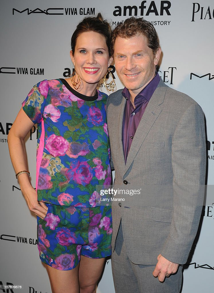 Stephanie March and Bobby Flay attend the amfAR Inspiration Miami Beach Party at Soho Beach House on December 6, 2012 in Miami Beach, Florida.