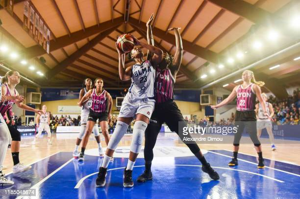 Stephanie MAVUNGA of Montpellier and Clarissa DOS SANTOS of Lyon during the Euroleague Women Basketball match on Group B between Montpellier and Lyon...