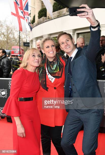 Stephanie McGovern Dan Walker and Louise Minchin attend the TRIC Awards 2018 held at the Grosvenor House Hotel on March 13 2018 in London England