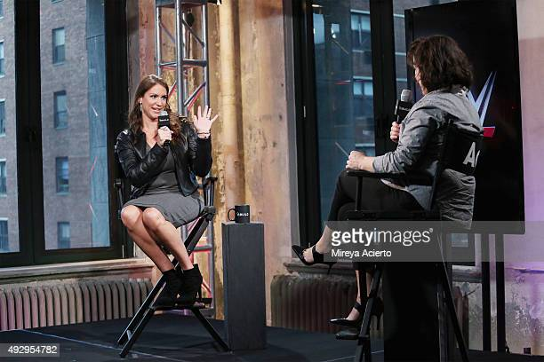 Stephanie McMahon and Donna Freydkin attend AOL BUILD Presents at AOL Studios in New York on October 16 2015 in New York City