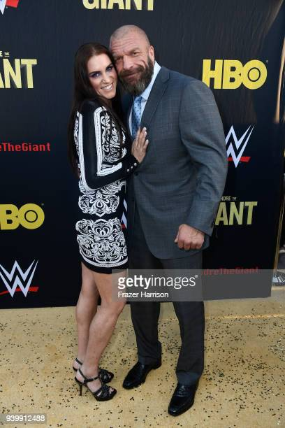 Stephanie McMahon and Paul 'Triple H' Levesque attend the Premiere Of HBO's 'Andre The Giant' at The Cinerama Dome on March 29 2018 in Los Angeles...