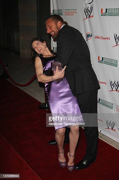Stephanie McMahon and Paul 'Triple H' Levesque attend WrestleMania Premiere Party A Celebration of Miami Art and Fashion on March 29 2012 in Miami...