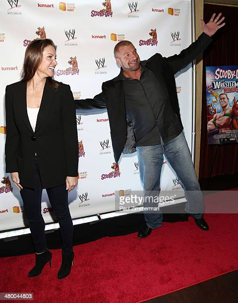 Stephanie McMahon and WWE wrestler Triple H attend the 'Scooby Doo WrestleMania Mystery' New York Premiere at Tribeca Cinemas on March 22 2014 in New...