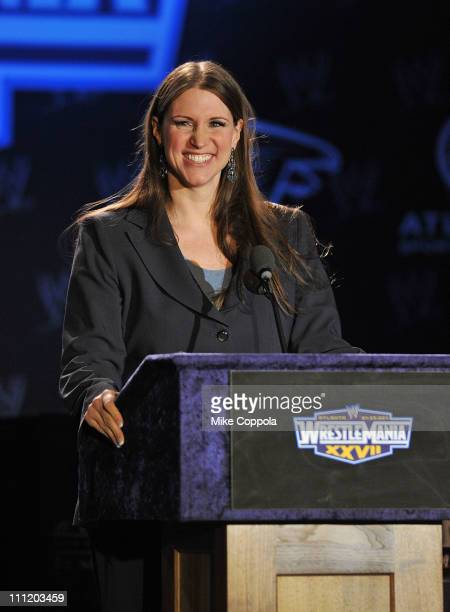 Stephanie McMahon attends the WrestleMania XXVII press conference at Hard Rock Cafe New York on March 30 2011 in New York City