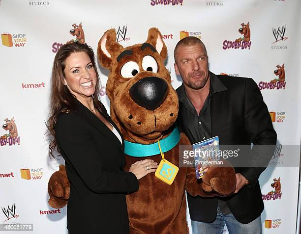 Stephanie McMahon Scooby Doo and WWE wrestler Triple H attend the 'Scooby Doo WrestleMania Mystery' New York Premiere at Tribeca Cinemas on March 22...