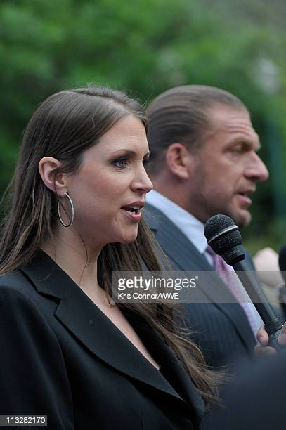 Stephanie McMahon speaks with reporters during the AntiBullying Alliance 'Be A Star' launched by The Creative Coalition AList celebs and WWE at The...