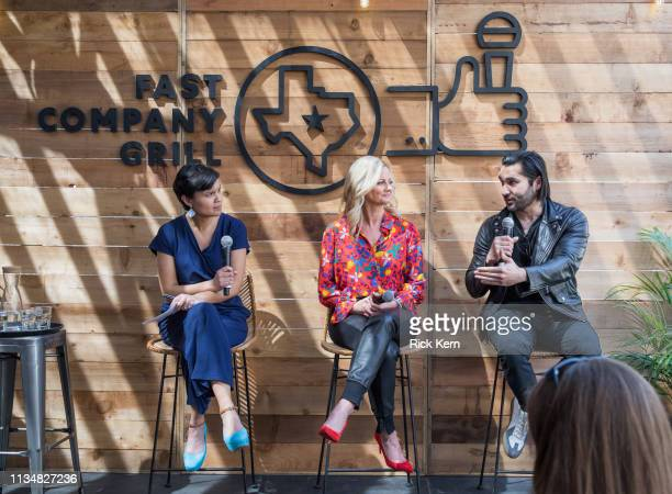 Stephanie Mehta EditorinChief Fast Company Alicia Tillman CMO SAP and Ahsan Rizvi Founder and CEO Kiddom attend the Fast Company Grill on March 09...