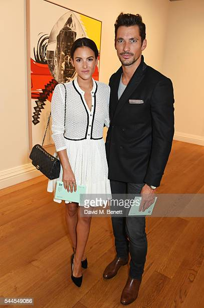 Stephanie Mendoros and David Gandy attend The Mayfair Gallery Hop to launch Brown's London Art Weekend at Messums Gallery on July 1 2016 in London...