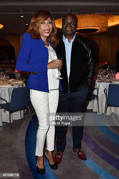 Stephanie Milla and Roger Milla attend the Golden Foot footprint ceremony at MonteCarlo Bay Hotel on October 11 2014 in MonteCarlo Monaco