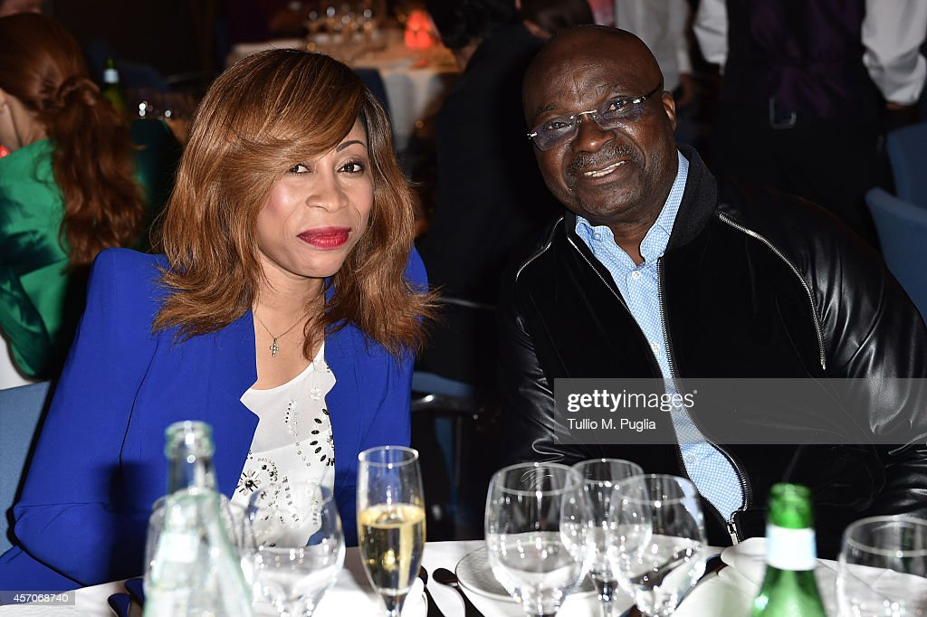 Stephanie Milla and Roger Milla attend the Golden Foot footprint ceremony at MonteCarlo Bay Hotel on October 11, 2014 in Monte-Carlo, Monaco.