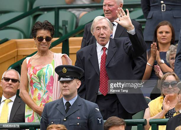 Stephanie Moore and Gordon Banks attend day six of the Wimbledon Tennis Championships at Wimbledon on July 02, 2016 in London, England.