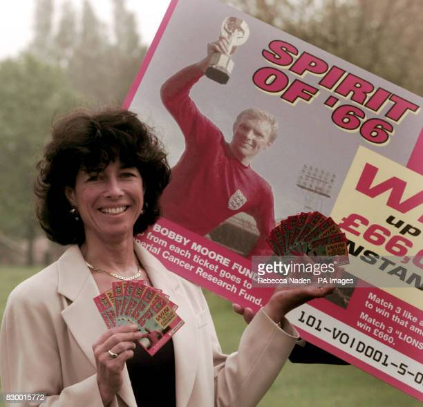 Stephanie Moore widow of 1966 World Cup captain Bobby Moore launches Littlewoods Lotteries 'Spirit of 66' World Cup scratchcard today All proceeds...