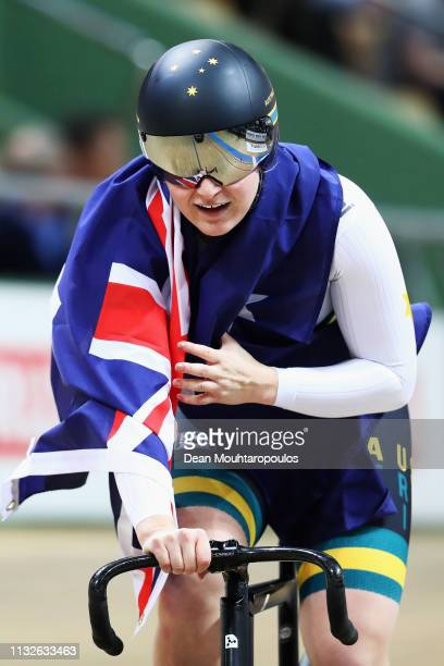 Stephanie Morton of Australia celebrates winning the gold medal in the Women's team sprint on day one of the UCI Track Cycling World Championships...