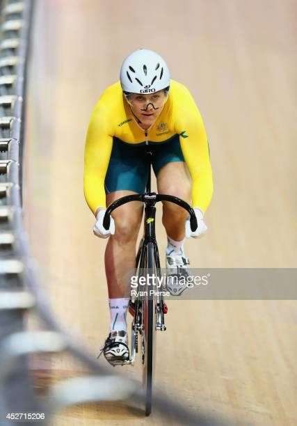Stephanie Morton of Australia competes in the Women's Sprint Qualifying at Sir Chris Hoy Velodrome during day three of the Glasgow 2014 Commonwealth...