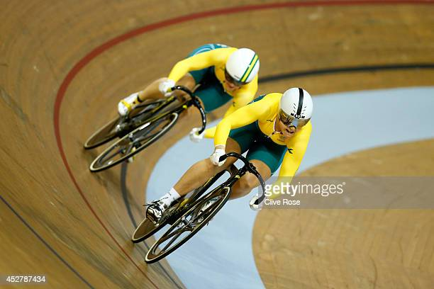 Stephanie Morton of Australia leads Anna Meares through the final turn to win the Women's Sprint Final at the Sir Chris Hoy Velodrome during day four...