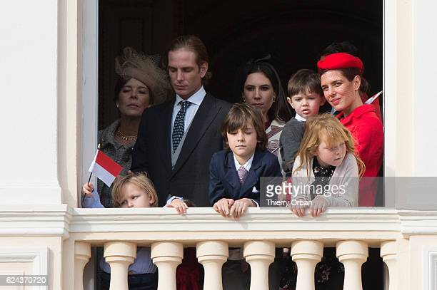 Stephanie of Monaco , Raphael Casiraghi, Charlotte Casiraghi and and her son Raphael greet the crowd from the palace's balcony during the Monaco...