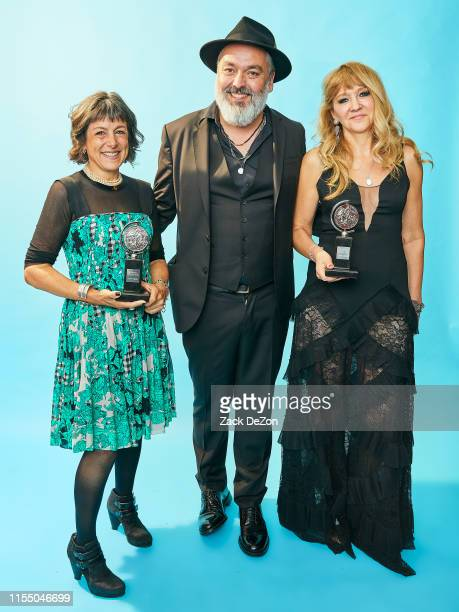Stephanie P McClelland Jez Butterworth and Sonia Friedman of The Ferryman poses for a portrait during the 73rd Annual Tony Awards on June 09 2019 in...