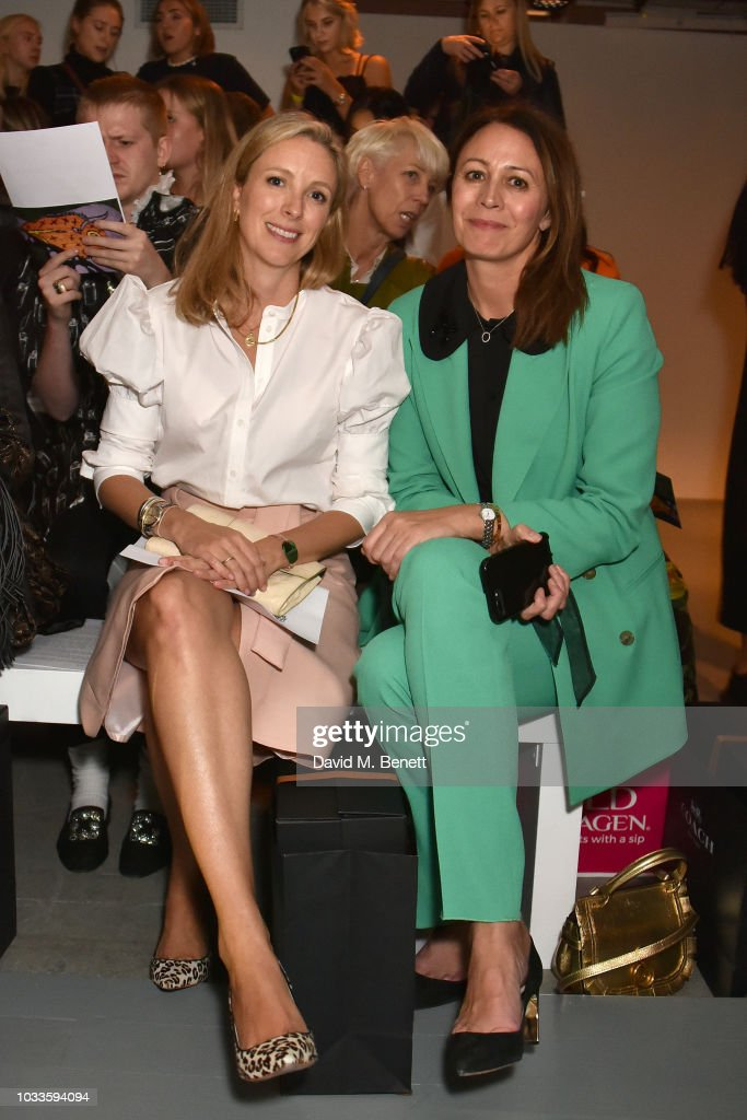 Stephanie Phair (L) and Caroline Rush attend the Matty Bovan front row during London Fashion Week September 2018 at the BFC Show Space on September 14, 2018 in London, England.