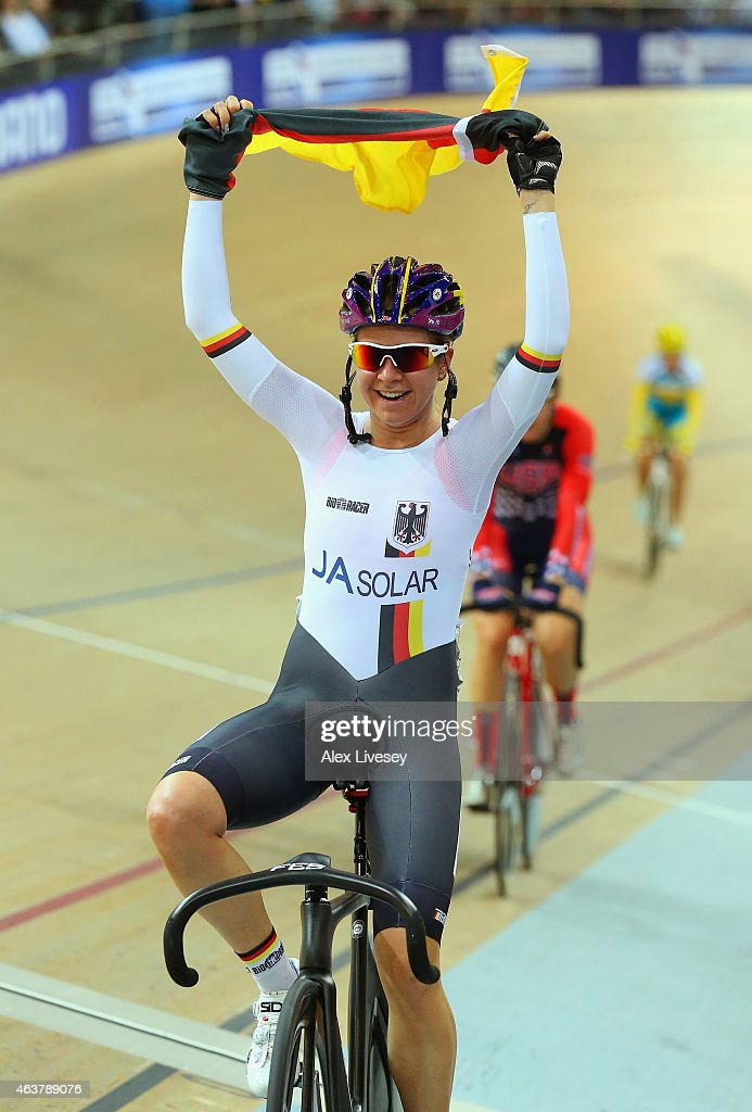 Stephanie Pohl of Germany celebrates winning the Women's Points Race Final during day one of the UCI Track Cycling World Championships at the National Velodrome on February 18, 2015 in Paris, France.