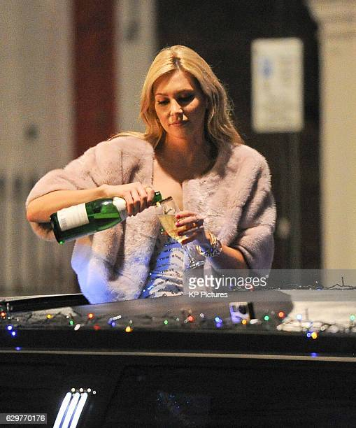 Stephanie Pratt and comedian Dom Joly are pictured filming scenes for a special Christmas edition of Trigger Happy TV on December 08 2016 in London...
