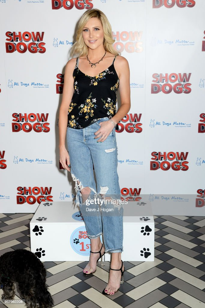 Stephanie Pratt and her dog Max attend the 'Show Dogs' Gala Screening at Picturehouse Central on May 13, 2018 in London, England.