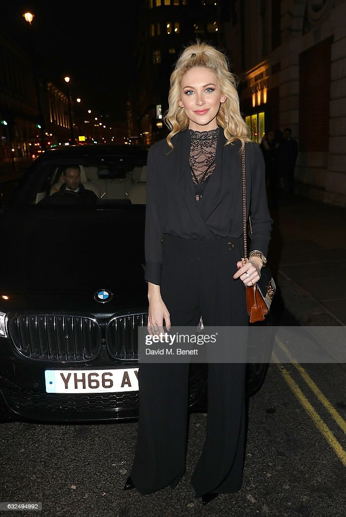 Stephanie Pratt arrives in style in the luxury BMW 7 Series at the Debrett's 500 Gala, at BAFTA on January 23, 2017 in London, England.