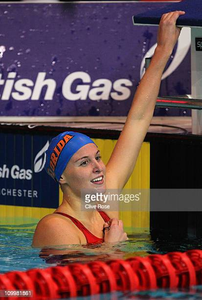 Stephanie Proud of Great Britain reacts after winning the Women's 200m Backstroke Final during day seven of the British Swimming Championships at the...