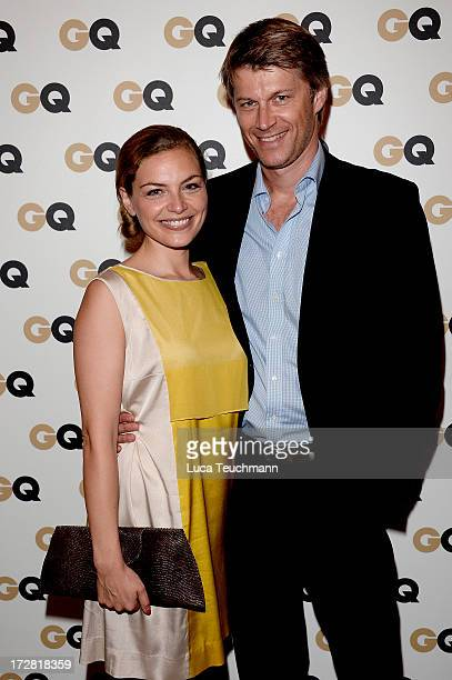 Stephanie Puls and Heiko Paluschka attend the GQ Fashion Cocktail Stue Hotel on July 4 2013 in Berlin Germany